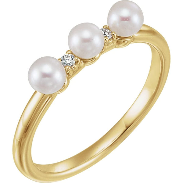 White Freshwater Cultured Pearl, Diamond Stackable Ring, 14k Yellow Gold (3.5mm)(.03Ctw, Color G-H, Clarity I1)