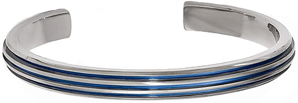 Titanium, Blue Anodized Grooved 7mm Cuff Bracelet