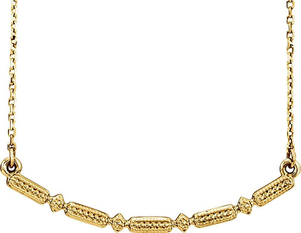 Petite Beaded Bar Necklace, 14k Yellow Gold, 16-18""
