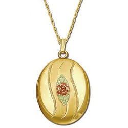Rose Flower Oval Locket Necklace, 10k Yellow Gold, 12k Green and Rose Gold Black Hills Gold Motif, 18""