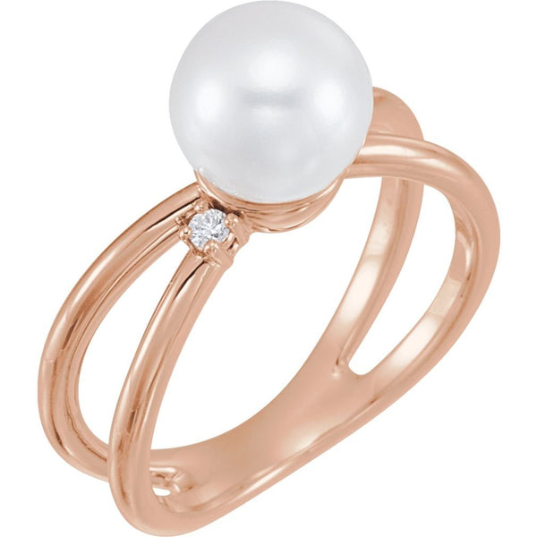White Freshwater Cultured Pearl, Diamond Ring, 14k Rose Gold (8-8.5 mm)(.04 Ctw, Color G-H, Clarity I1)