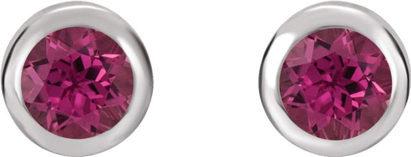 October Birthstone Stud Earrings, Rhodium-Plated 14k White Gold