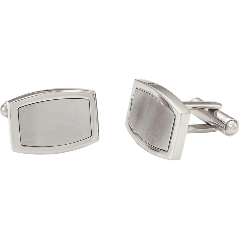 Satin Brushed and Polished Rectangle Stainless Steel Cuff Links, Bullet Backs