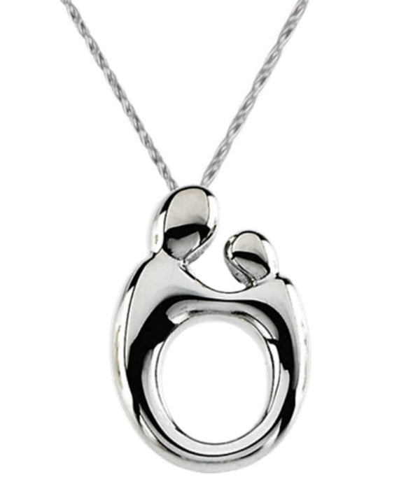 Mother and Child Rhodium Plated Sterling Silver Necklace, 18""