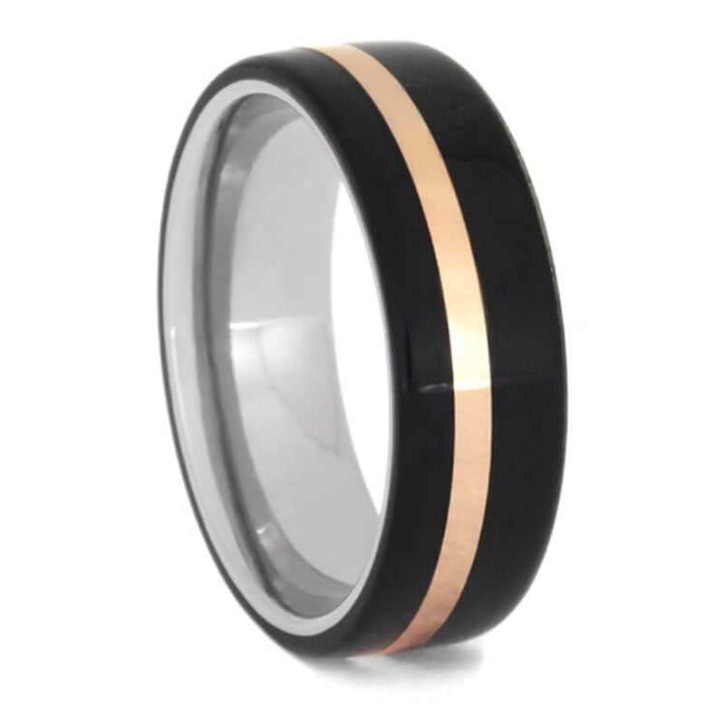 Ebony Wood, 14k Rose Gold 7mm Titanium Comfort-Fit Wedding Ring