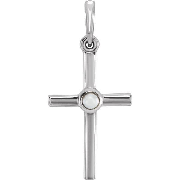 White Freshwater Cultured Pearl Cross Pendant, Sterling Sliver (2MM)