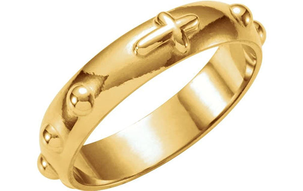Rosary Cross Ring, 14k Yellow Gold, Size 6