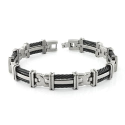 Men's Cable Squared Collection Gray Titanium 10mm Two Row Fold Over Cable Link Bracelet, 8.25""