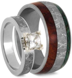 Forever One Moissanite, Meteorite, Afzelia Wood, Green Box Elder Burl Comfort-Fit Titanium Couples Wedding Band Set Size, M12-F6