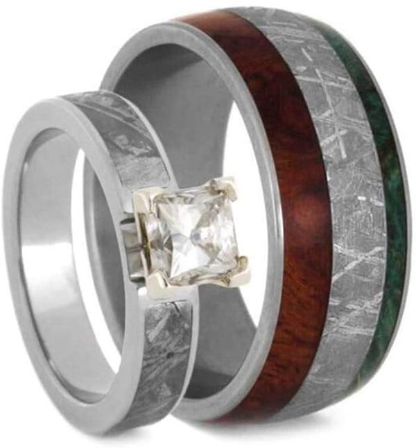 Forever One Moissanite, Meteorite, Afzelia Wood, Green Box Elder Burl Comfort-Fit Titanium Couples Wedding Band Set Size, M11.5-F7.5