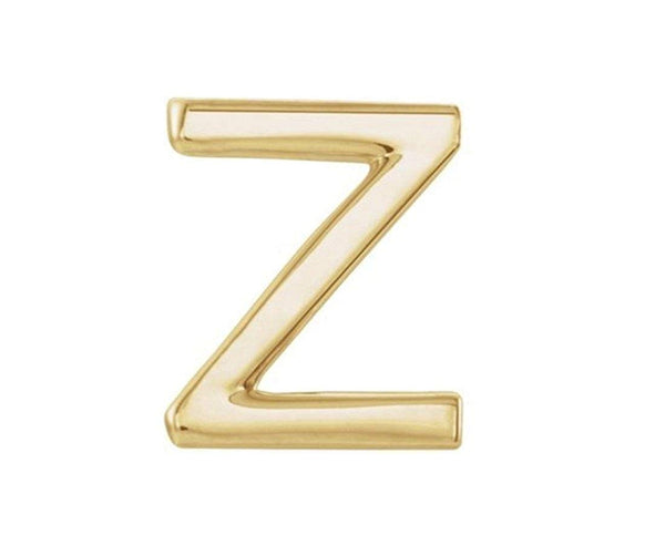 Initial Letter 'Z' 14k Yellow Gold Stud Earring (Single Earring)