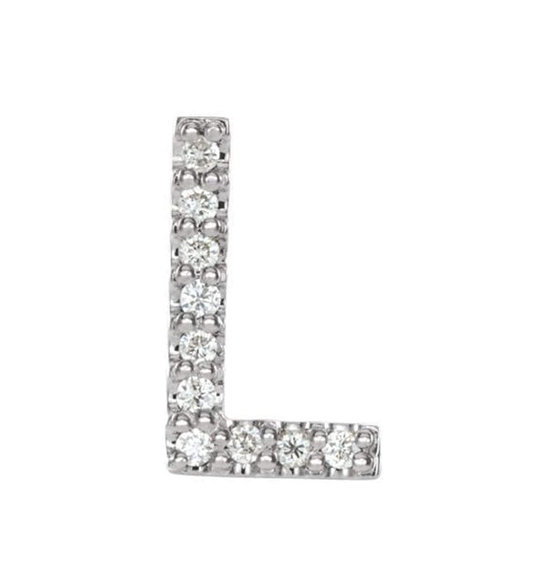 Platinum Diamond Letter 'L' Initial Stud Earring (Single Earring) (.04 Ctw, GH Color, SI2-SI3 Clarity)