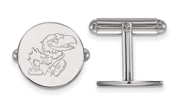 Rhodium-Plated Sterling Silver University Of Kansas Cuff Links,15MM