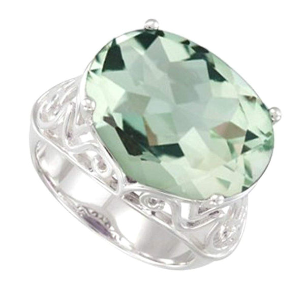Green Quartz Checkerboard 11.55 Ct Sterling Silver Filigree Ring, Size 6