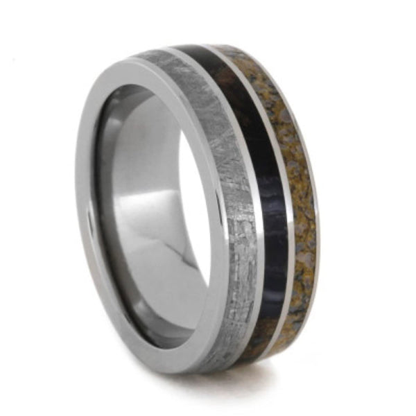 Gibeon Meteorite, Dinosaur Bone, Petrified Wood 8mm Comfort-Fit Titanium Wedding Band, Size 6.25
