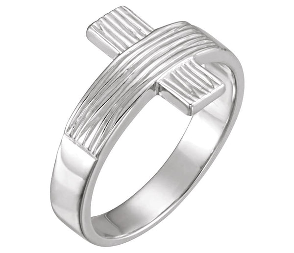 Women's 14k White Gold 'The Rugged Cross' Chastity Ring, Size 8