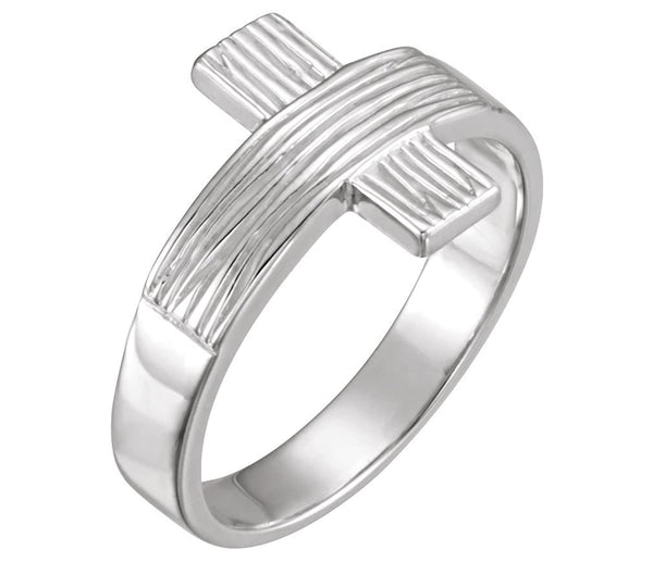 Women's 14k White Gold 'The Rugged Cross' Chastity Ring, Size 4