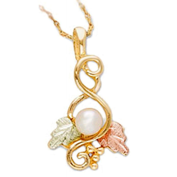 "White Cultured Pearl with Leaf Pendant Necklace, 10k Yellow Gold, 12k Green and Rose Gold Black Hills Gold Motif, 18"" (4-4.5MM)"