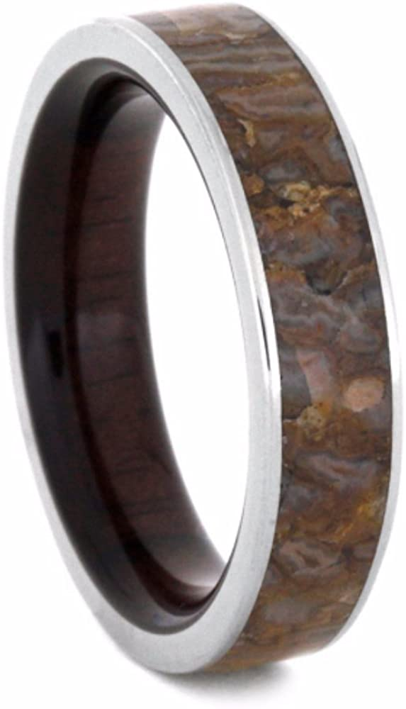 Dinosaur Bone with Macassar Ebony 5mm Comfort-Fit Titanium Wedding Band, Size 14