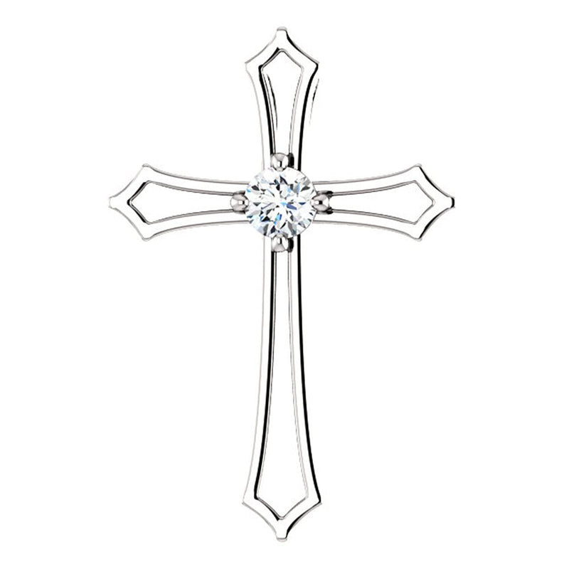 Diamond Cross Rhodium-Plated 14k White Gold Pendant (.50 Ct, G-H Color, I1 Clarity)
