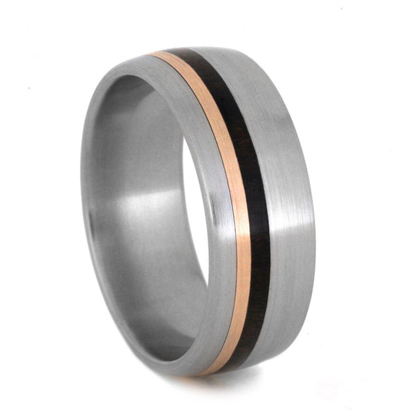 Ziricote Wood, 14k Rose Gold Pinstripes 8mm Comfort-Fit Brushed Titanium Band