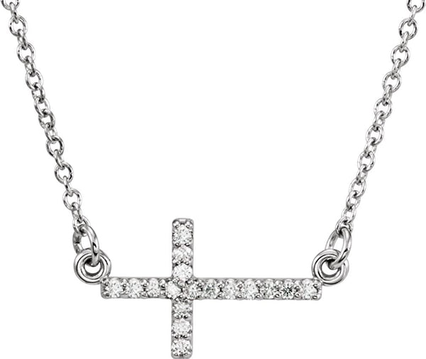 "17-Stone Diamond Sideways Cross Rhodium Plate 14k White Gold Pendant Necklace, 16-18"" (.01 Cttw)"