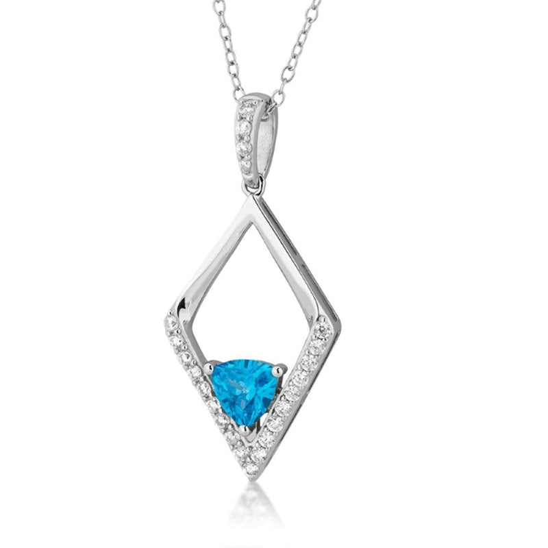 Blue Trillion CZ Silhouette Diamond-Shaped Pendant Rhodium Plated Sterling Silver Necklace, 18""