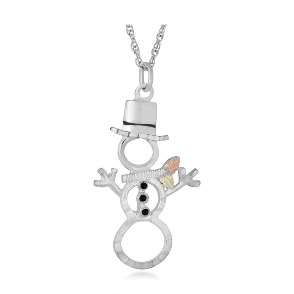 Snowman Pendant Necklace, Sterling Silver, 12k Green and Rose Gold Black Hills Gold Motif, 18""