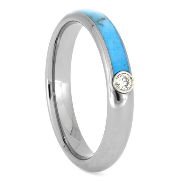 The Men's Jewelry Store (Unisex Jewelry) Charles & Colvard Moissanite, Turquoise 4mm Titanium Comfort-Fit Wedding Band