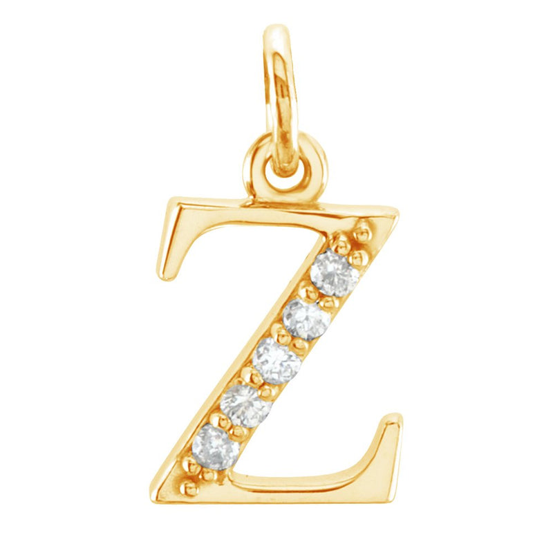 Diamond Initial 'z' Lowercase Alphabet Letter 14k Yellow Gold Pendant (.03 Cttw F+ Color, VS Clarity)