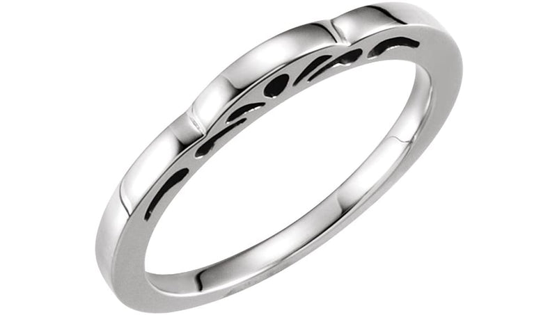 Cut-Out Paisley 3mm Stackable Rhodium-Plated 14k White Gold Ring