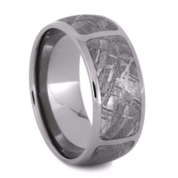 Sectioned Gibeon Meteorite 9mm Comfort-Fit Titanium Wedding Band
