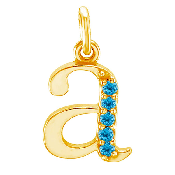 Swiss Blue Topaz Initial 'a' Lowercase Alphabet Letter 14k Yellow Gold Pendant