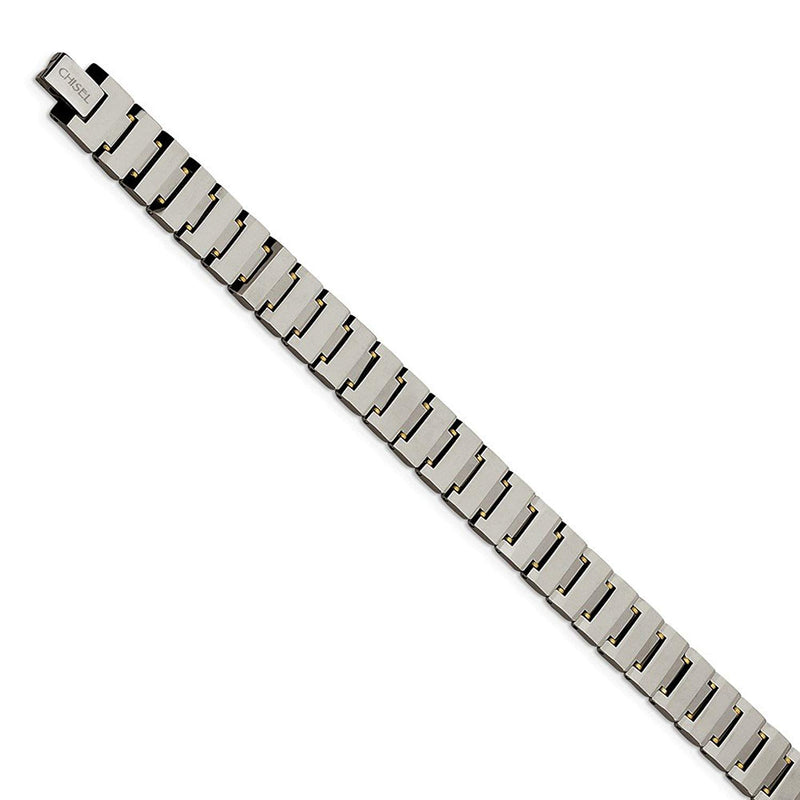 Men's Polished Tungsten with Brass 11mm Link Bracelet, 8.5""
