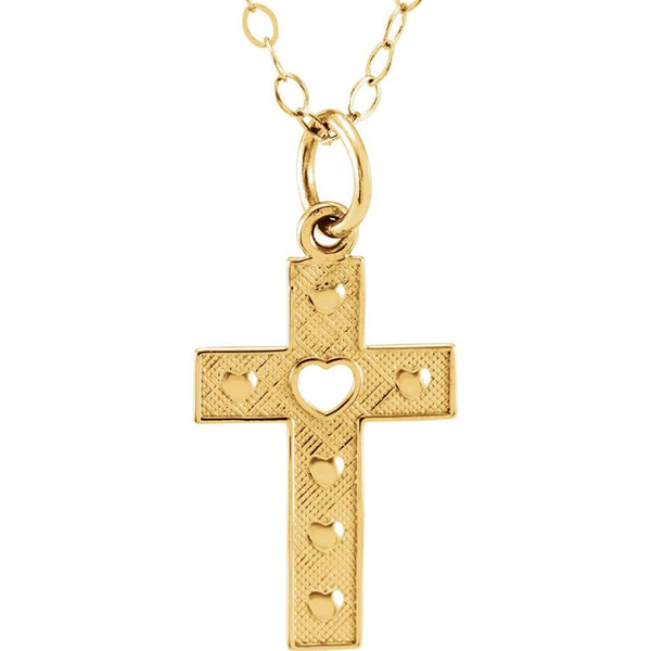 Youth Cross and Heart 14k Yellow Gold Pendant (18.80X9.10 MM)