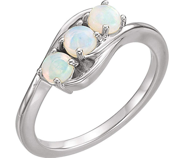 Opal Cabochon 3-Stone Past, Present, Future Ring, Rhodium-Plated 14k White Gold, Size 6.5