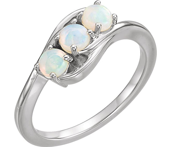 Opal Cabochon 3-Stone Past, Present, Future Ring, Rhodium-Plated 14k White Gold, Size 8
