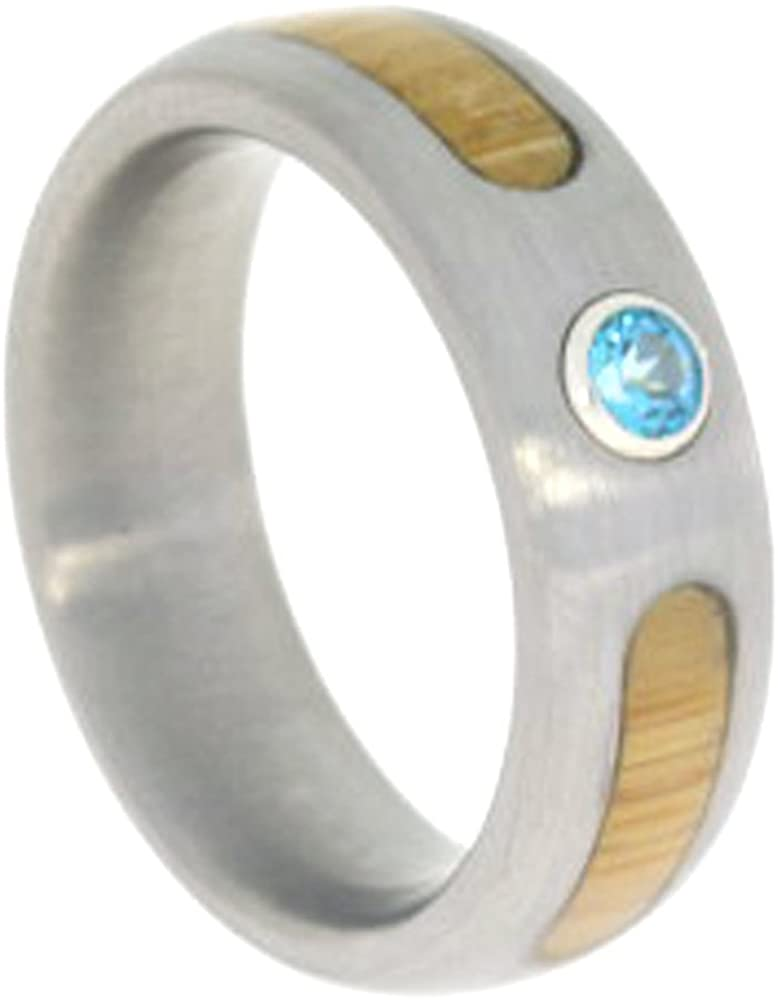 Blue Topaz, Bamboo 6mm Comfort Fit Brushed Titanium Wedding Ring