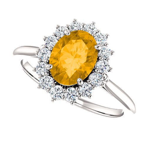 Citrine and Diamond Halo 14k White OR Yellow Gold Ring, Size 7