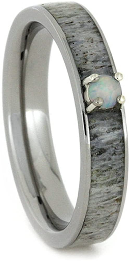 Opal, Antler Inlay 4mm Comfort-Fit Titanium Engagement Ring, Size 8.5