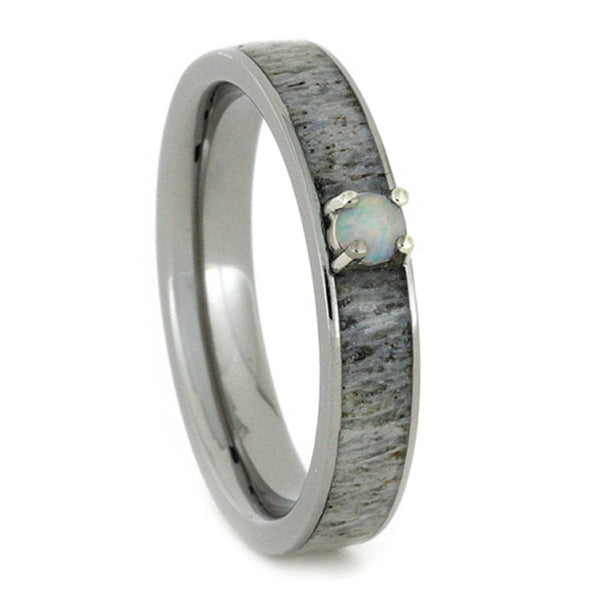 Opal, Antler Inlay 4mm Comfort-Fit Titanium Engagement Ring