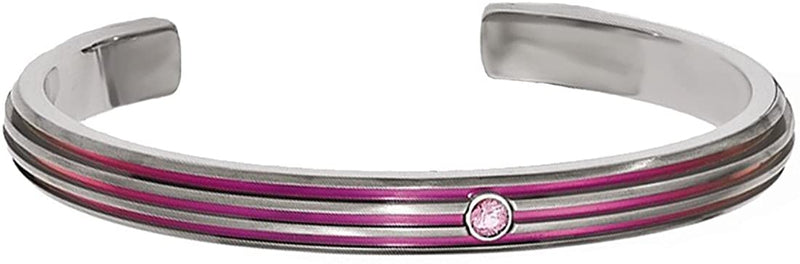 Titanium, Pink Anodized Grooved .15 Ct Pink Sapphire 7mm Cuff Bracelet