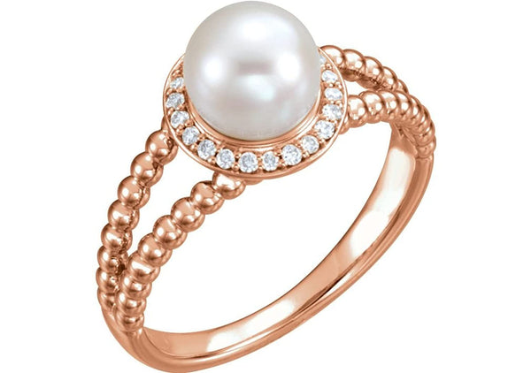 White Freshwater Cultured Pearl Diamond Halo 14k Rose Gold Ring (7-7.5 MM) (1/8 Ctw, Color G-H, Clarity I1)