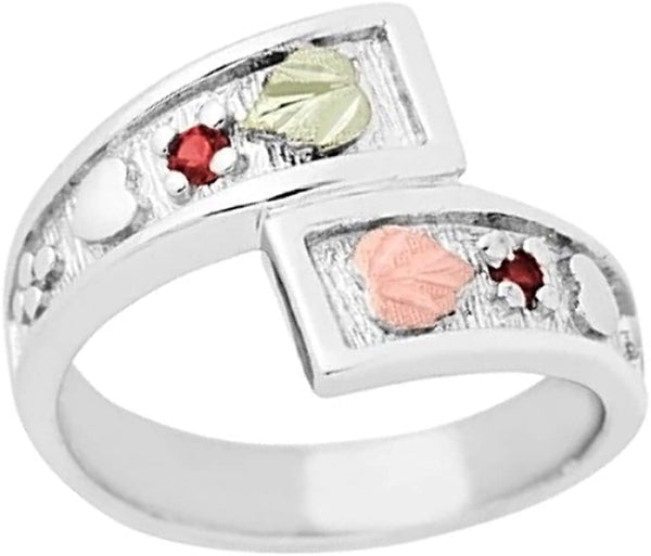 January Birthstone Created Garnet Bypass Ring, Sterling Silver, 12k Green and Rose Gold Black Hills Silver Motif, Size 7.25