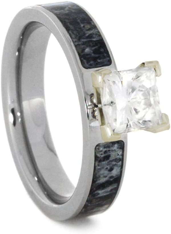 Forever One Moissanite, Deer Antler 4mm Comfort-Fit Titanium Engagement Ring, Size 4