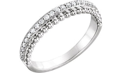 Diamond Beaded Ring, Sterling Silver (1/4 Ctw, Color G-H, Clarity I1), Size 7.25
