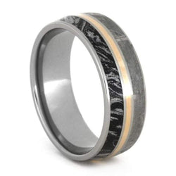 Gibeon Meteorite, Black and White Mokume Gane, 14k Rose Gold 8mm Titanium Comfort-Fit Ring