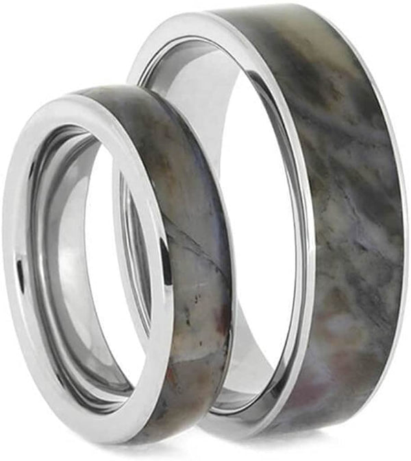Petrified Wood Comfort-Fit Titanium His and Hers Wedding Band Set Size, M11.5-F6