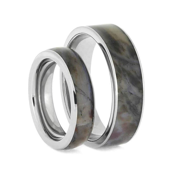 Petrified Wood Comfort-Fit Titanium Couples Wedding Band Set