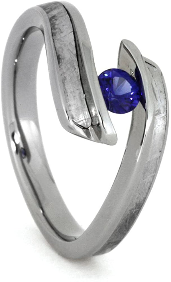 Blue Sapphire, Gibeon Meteorite 9.5mm Comfort-Fit Titanium Engagement Ring, Size 11.25